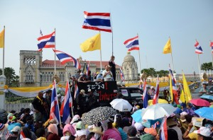 Anti-government protesters attend a rally outside Government House on December 9, 2013 in Bangkok, Thailand. Photo credit: Sira Anamwong.