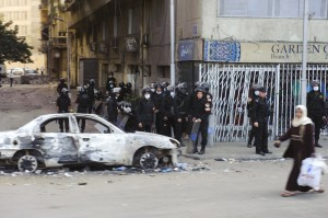 Egyptian riot police in Cairo, January 28, 2013. Photo credit: Jackq, Dreamstime.